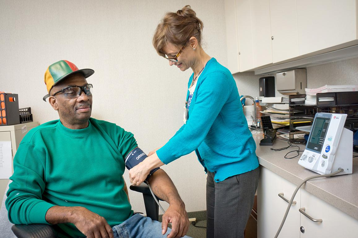 SPRINT participant getting blood pressure measured | Wake Forest School of Medicine