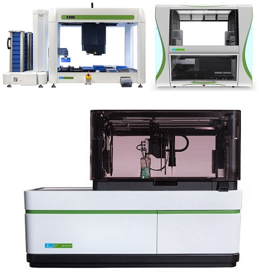 Top: Sciclone® G3 NGSx HT Workstation and JANUS® G3 Blood iQ™ Workstation; Bottom: Opera Phenix® Plus High Content Screening System